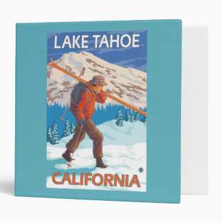 Skier Carrying Snow Skis - Lake Tahoe, Californi 3 Ring Binder