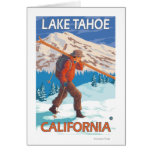 Skier Carrying Snow Skis - Lake Tahoe, Californi Greeting Card