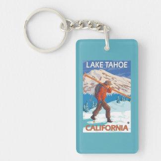 Skier Carrying Snow Skis - Lake Tahoe, Californi Double-Sided Rectangular Acrylic Keychain