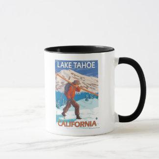 Skier Carrying Snow Skis - Lake Tahoe, Californi Mug