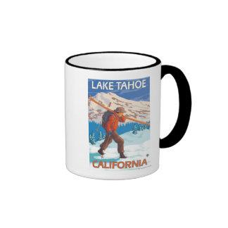 Skier Carrying Snow Skis - Lake Tahoe, Californi Ringer Coffee Mug