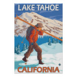 Skier Carrying Snow Skis - Lake Tahoe, Californi Poster
