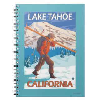 Skier Carrying Snow Skis - Lake Tahoe, Californi Spiral Notebook