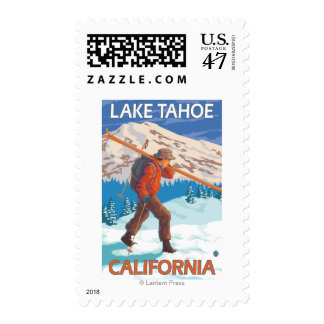 Skier Carrying Snow Skis - Lake Tahoe, Californi Stamp