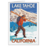 Skier Carrying Snow Skis - Lake Tahoe, California Stationery Note Card