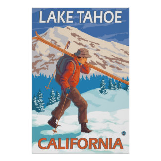 Skier Carrying Snow Skis - Lake Tahoe California Posters