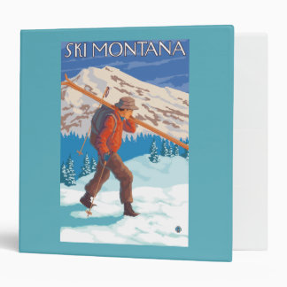 Skier Carrying Snow Skis - Montana 3 Ring Binder