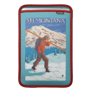 Skier Carrying Snow Skis - Montana MacBook Sleeve