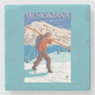 Skier Carrying Snow Skis - Montana Stone Coaster