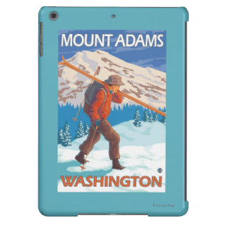 Skier Carrying Snow Skis - Mount Adams, WA iPad Air Covers