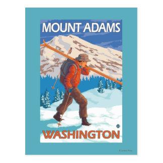 Skier Carrying Snow Skis - Mount Adams, WA Postcard