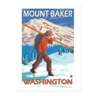 Skier Carrying Snow Skis - Mount Baker, WA Postcards