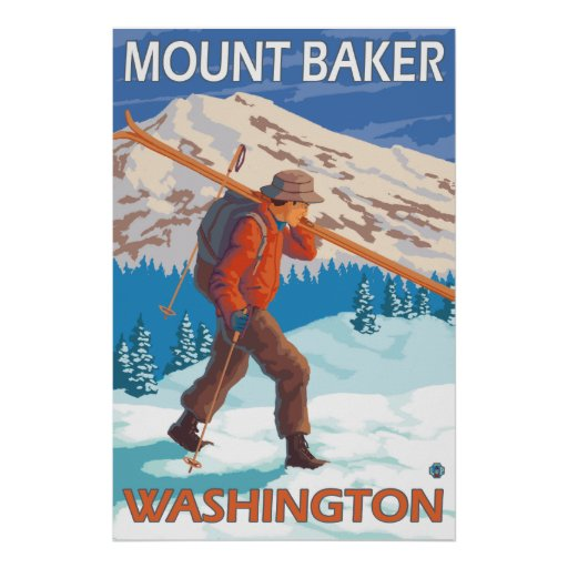 Skier Carrying Snow Skis - Mount Baker, WA Posters