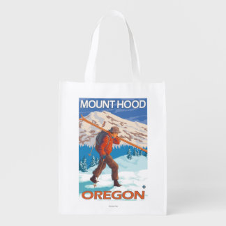 Skier Carrying Snow Skis - Mount Hood, OR Grocery Bags