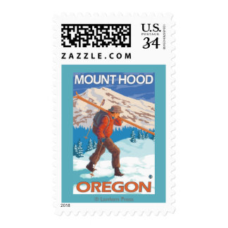 Skier Carrying Snow Skis - Mount Hood, OR Postage