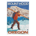 Skier Carrying Snow Skis - Mount Hood, OR Posters