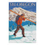 Skier Carrying Snow Skis - Oregon Posters