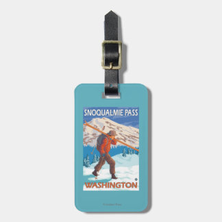 Skier Carrying Snow Skis - Snoqualmie Pass, WA Bag Tag