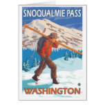 Skier Carrying Snow Skis - Snoqualmie Pass, WA Stationery Note Card