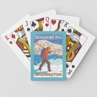 Skier Carrying Snow Skis - Snoqualmie Pass, WA Poker Cards