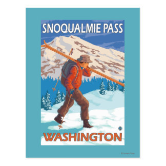 Skier Carrying Snow Skis - Snoqualmie Pass, WA Postcard