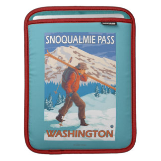 Skier Carrying Snow Skis - Snoqualmie Pass, WA Sleeve For iPads
