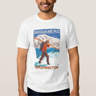 Skier Carrying Snow Skis - Snoqualmie Pass, WA T Shirt