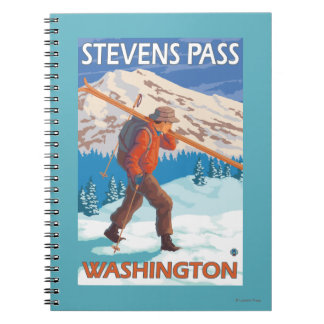 Skier Carrying Snow Skis - Stevens Pass, WA Spiral Note Book