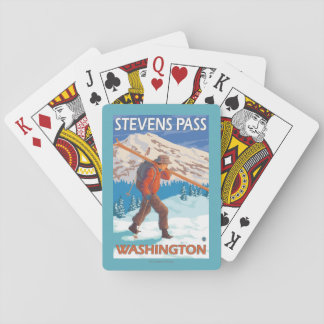 Skier Carrying Snow Skis - Stevens Pass, WA Playing Cards