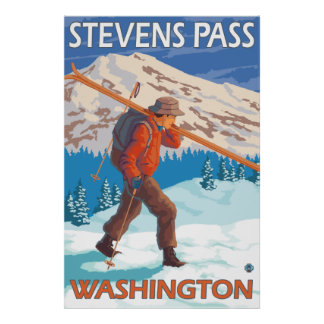 Skier Carrying Snow Skis - Stevens Pass, WA Poster