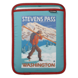 Skier Carrying Snow Skis - Stevens Pass, WA Sleeve For iPads