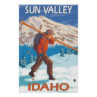 Skier Carrying Snow Skis - Sun Valley, ID Poster