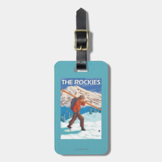Skier Carrying Snow Skis - The Rockies Bag Tag
