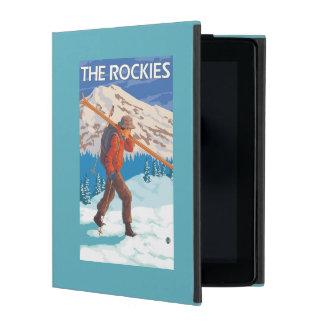 Skier Carrying Snow Skis - The Rockies iPad Folio Cases
