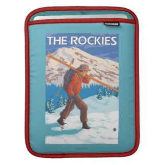 Skier Carrying Snow Skis - The Rockies iPad Sleeve