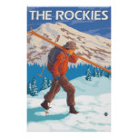 Skier Carrying Snow Skis - The Rockies Poster