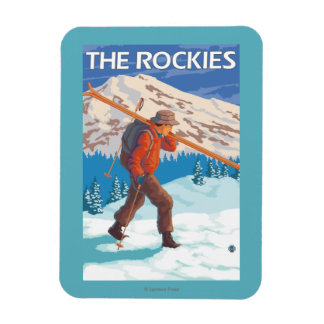 Skier Carrying Snow Skis - The Rockies Rectangular Photo Magnet