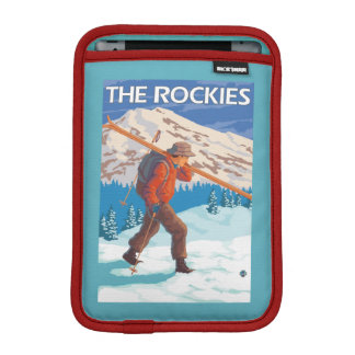 Skier Carrying Snow Skis - The Rockies Sleeve For iPad Mini