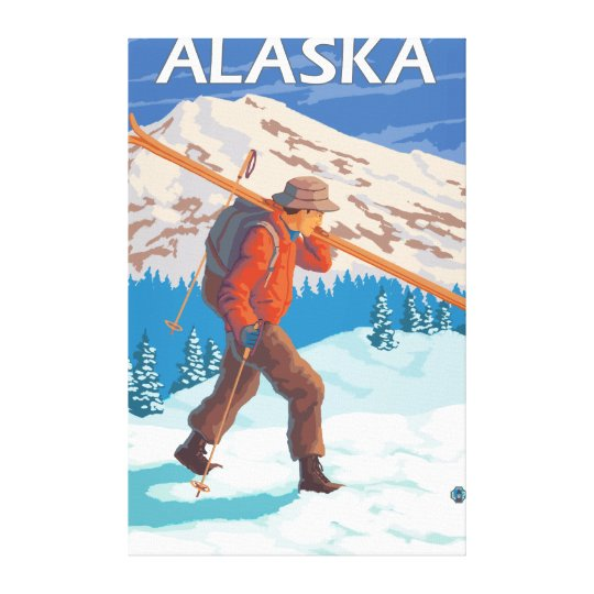 Skier Carrying Snow Skis- Vintage Travel 2 Canvas Print