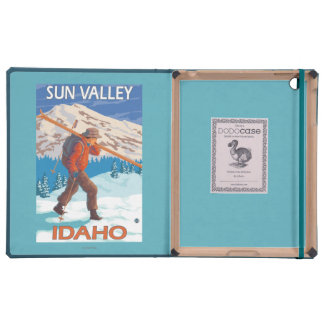 Skier Carrying Snow Skis- Vintage Travel 2