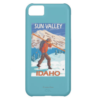 Skier Carrying Snow Skis- Vintage Travel 2 Cover For iPhone 5C