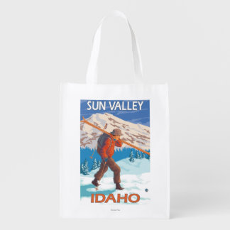 Skier Carrying Snow Skis- Vintage Travel 2 Grocery Bag
