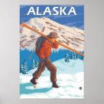 Skier Carrying Snow Skis- Vintage Travel 2 Print