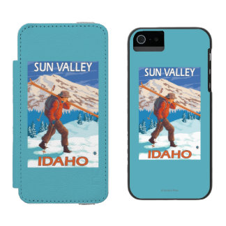 Skier Carrying Snow Skis- Vintage Travel 2 Wallet Case For iPhone SE/5/5s