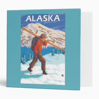 Skier Carrying Snow Skis- Vintage Travel 3 3 Ring Binder