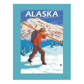Skier Carrying Snow Skis- Vintage Travel 3 Postcard