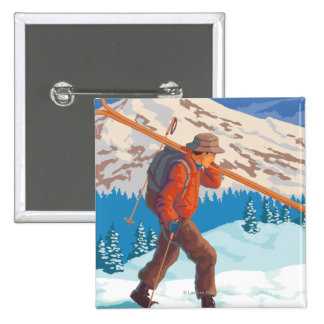 Skier Carrying Snow Skis- Vintage Travel Button