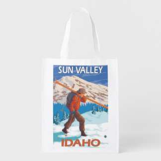 Skier Carrying Snow Skis- Vintage Travel Grocery Bag