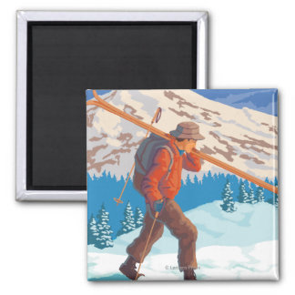Skier Carrying Snow Skis- Vintage Travel Magnet