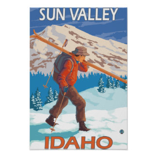 Skier Carrying Snow Skis- Vintage Travel Poster
